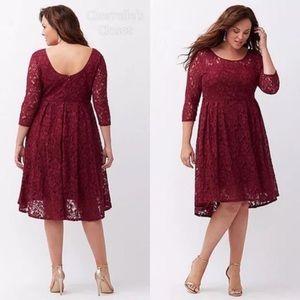 Lane Bryant | Lace Hi-Lo Burgundy Dress (18)